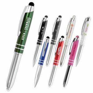 Flasher Metal LED Touch Screen Stylus Ballpoint Pen